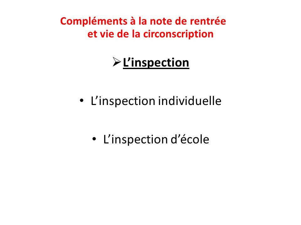 Linspection Linspection individuelle Linspection décole Compléments à la note de rentrée et vie de la circonscription