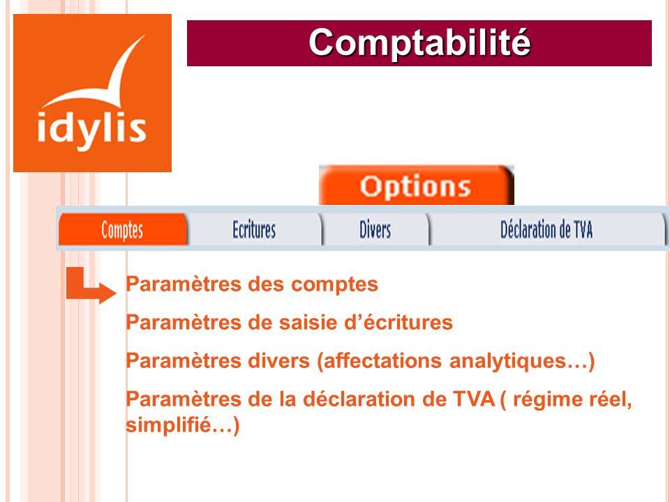 Comptabilité Paramètres des comptes Paramètres de saisie décritures Paramètres divers (affectations analytiques…) Paramètres de la déclaration de TVA
