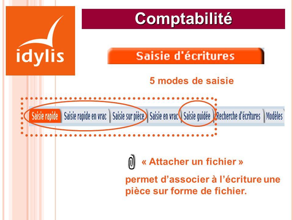 Comptabilité 5 modes de saisie « Attacher un fichier » permet dassocier à lécriture une pièce sur forme de fichier.