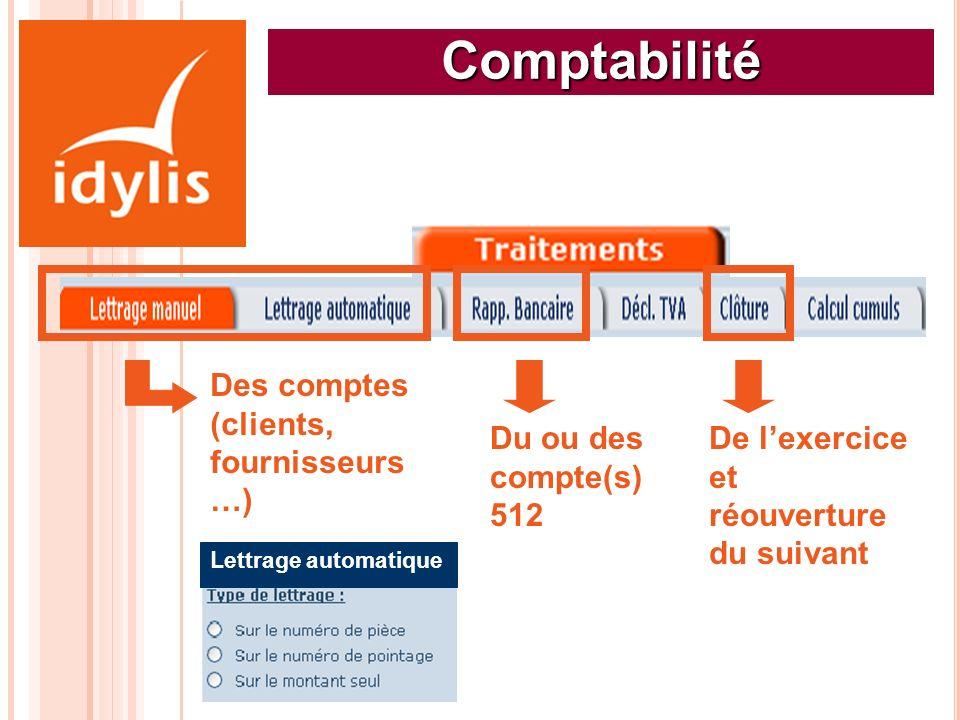 Comptabilité Des comptes (clients, fournisseurs …) Lettrage automatique Du ou des compte(s) 512 De lexercice et réouverture du suivant