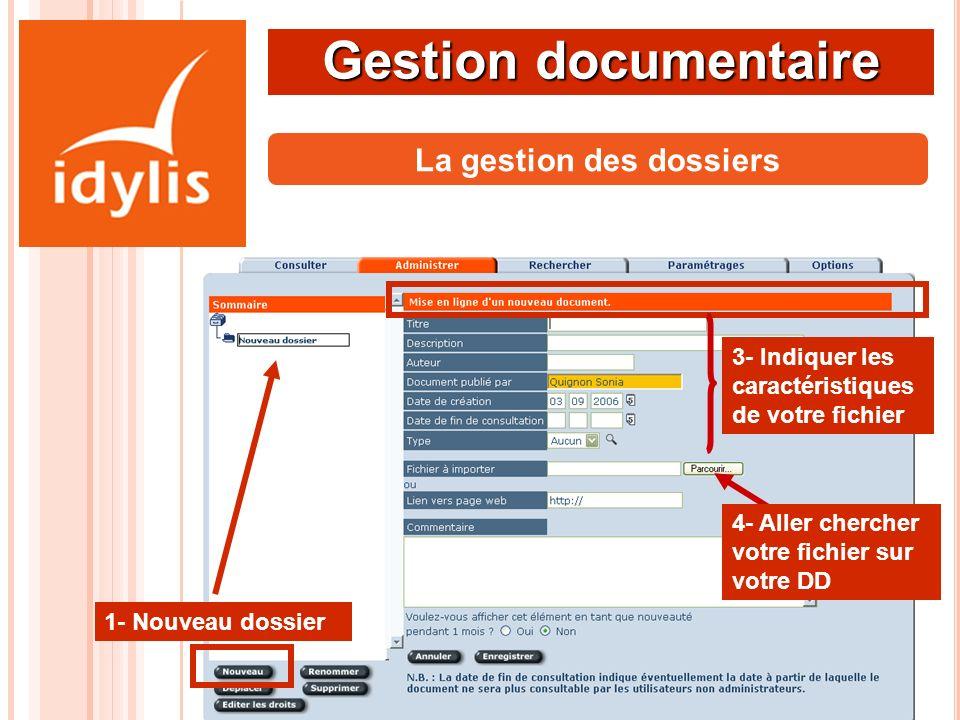 Gestion documentaire 1- Nouveau dossier 2- Nouveau fichier La gestion des dossiers 3- Indiquer les caractéristiques de votre fichier 4- Aller chercher