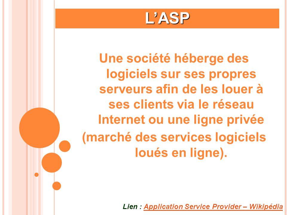 LASP Une société héberge des logiciels sur ses propres serveurs afin de les louer à ses clients via le réseau Internet ou une ligne privée (marché des
