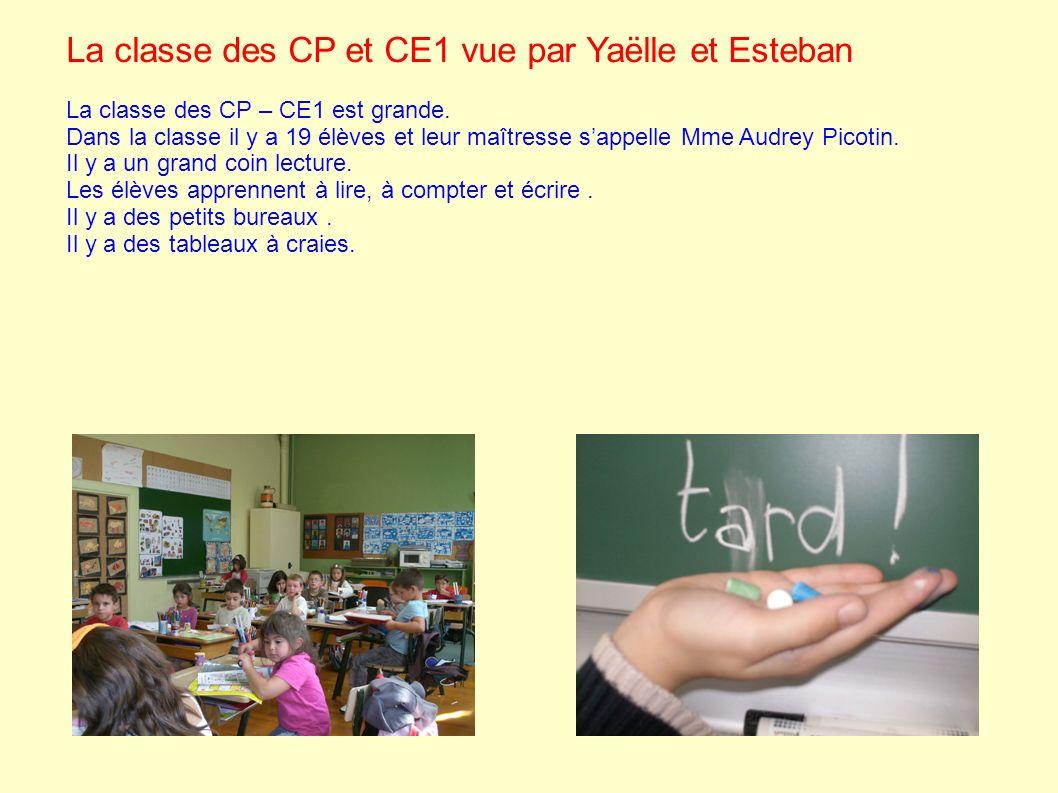 La classe des CP et CE1 vue par Yaëlle et Esteban La classe des CP – CE1 est grande. Dans la classe il y a 19 élèves et leur maîtresse sappelle Mme Au
