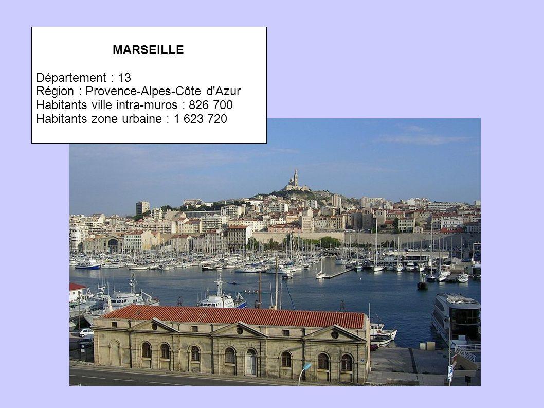MARSEILLE Département : 13 Région : Provence-Alpes-Côte d Azur Habitants ville intra-muros : 826 700 Habitants zone urbaine : 1 623 720