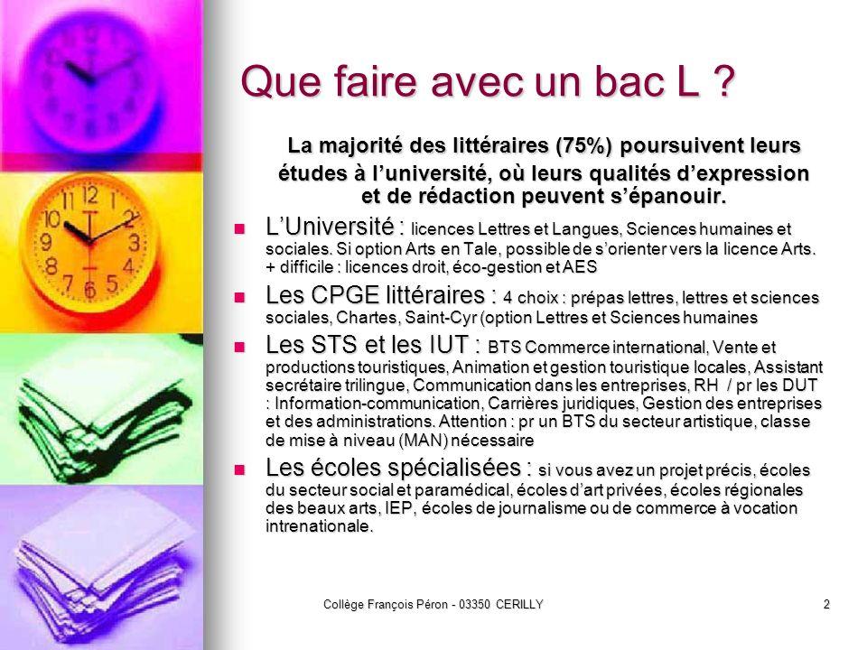 Collège François Péron - 03350 CERILLY2 Que faire avec un bac L ? La majorité des littéraires (75%) poursuivent leurs études à luniversité, où leurs q