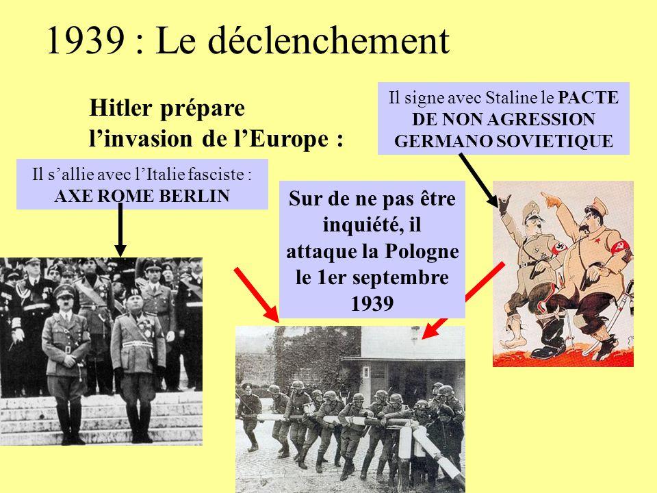 1939 : Le déclenchement Hitler prépare linvasion de lEurope : Il sallie avec lItalie fasciste : AXE ROME BERLIN Il signe avec Staline le PACTE DE NON