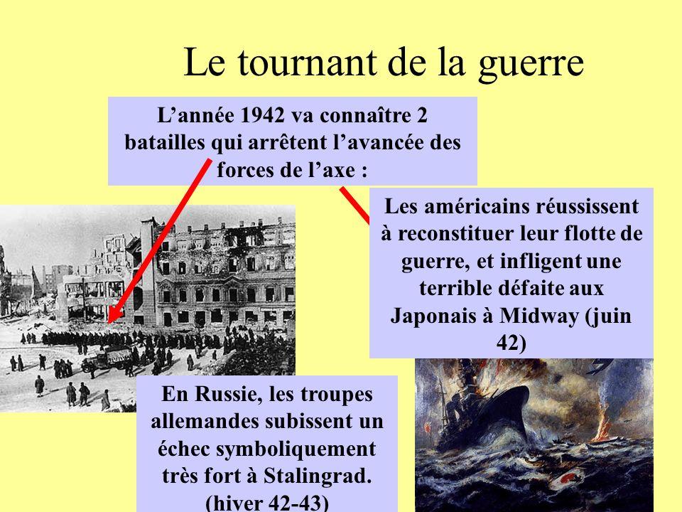 Le tournant de la guerre Lannée 1942 va connaître 2 batailles qui arrêtent lavancée des forces de laxe : En Russie, les troupes allemandes subissent u