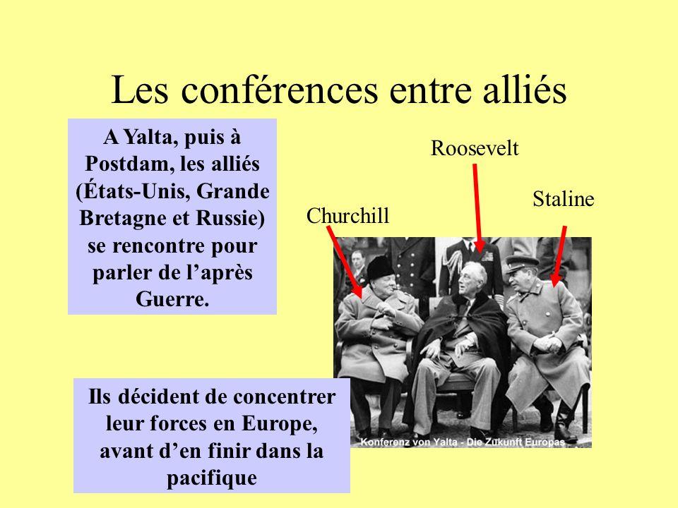 Les conférences entre alliés A Yalta, puis à Postdam, les alliés (États-Unis, Grande Bretagne et Russie) se rencontre pour parler de laprès Guerre. St