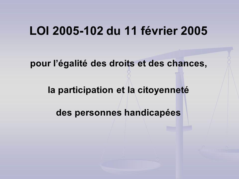 LOI 2005-102 du 11 février 2005 pour légalité des droits et des chances, la participation et la citoyenneté des personnes handicapées