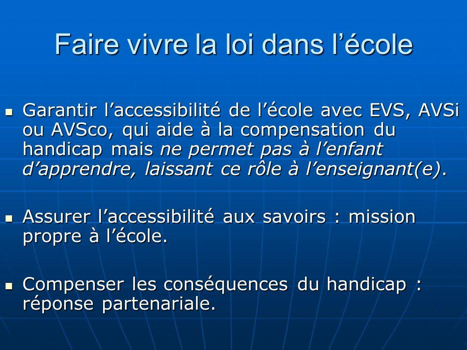 Faire vivre la loi dans lécole Garantir laccessibilité de lécole avec EVS, AVSi ou AVSco, qui aide à la compensation du handicap mais ne permet pas à