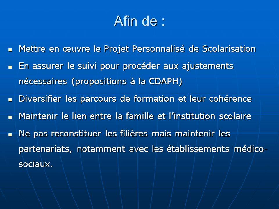 Afin de : Mettre en œuvre le Projet Personnalisé de Scolarisation Mettre en œuvre le Projet Personnalisé de Scolarisation En assurer le suivi pour pro