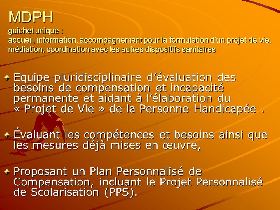MDPH guichet unique : accueil, information, accompagnement pour la formulation dun projet de vie, médiation, coordination avec les autres dispositifs