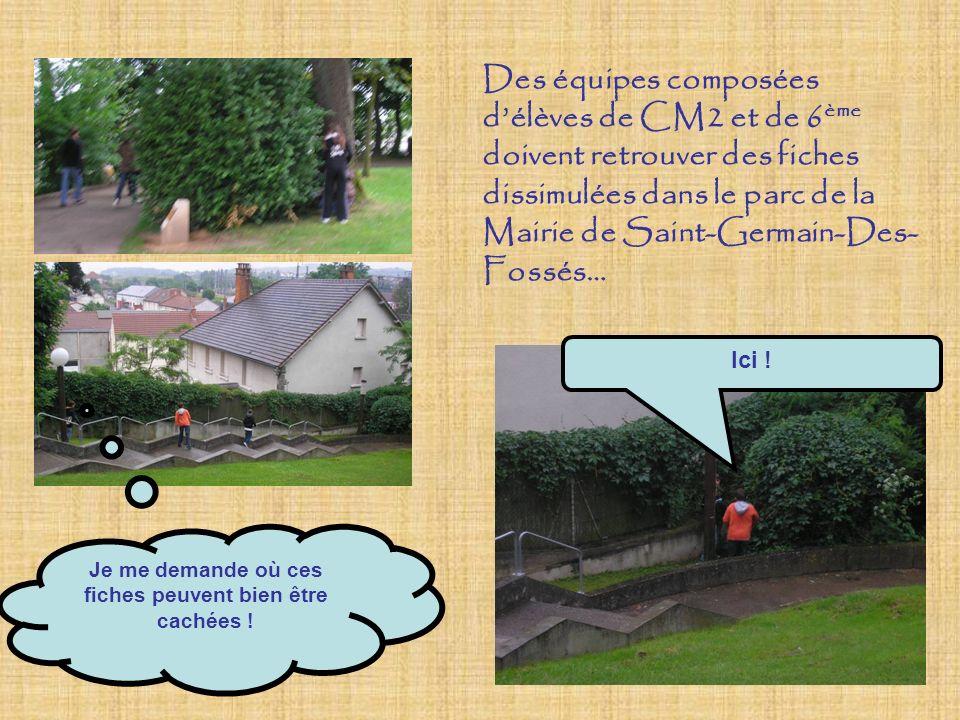 Des équipes composées délèves de CM2 et de 6 ème doivent retrouver des fiches dissimulées dans le parc de la Mairie de Saint-Germain-Des- Fossés… Je me demande où ces fiches peuvent bien être cachées .