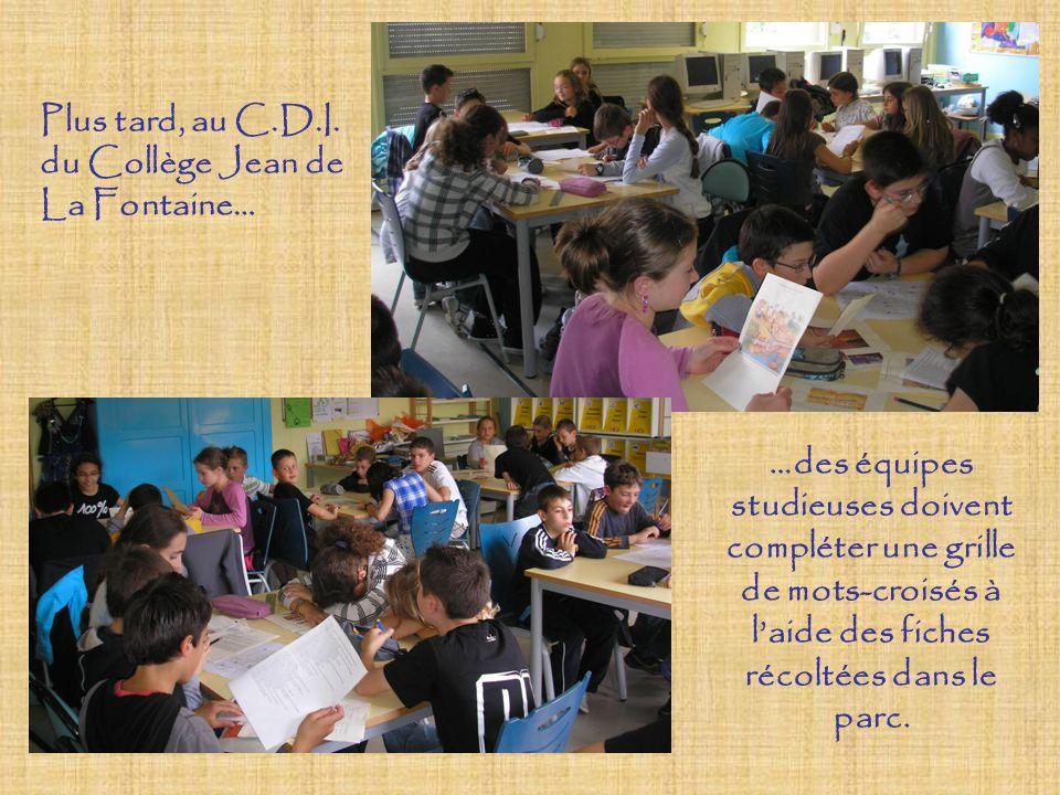 Plus tard, au C.D.I. du Collège Jean de La Fontaine… …des équipes studieuses doivent compléter une grille de mots-croisés à laide des fiches récoltées