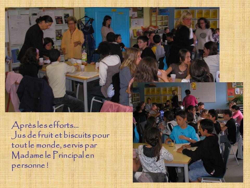 Après les efforts… Jus de fruit et biscuits pour tout le monde, servis par Madame le Principal en personne !