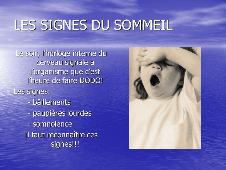 LES SIGNES DU SOMMEIL Le soir, lhorloge interne du cerveau signale à lorganisme que cest lheure de faire DODO! Les signes: - bâillements - bâillements