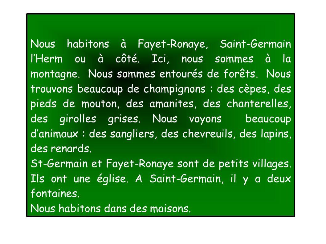 Nous habitons à Fayet-Ronaye, Saint-Germain lHerm ou à côté.