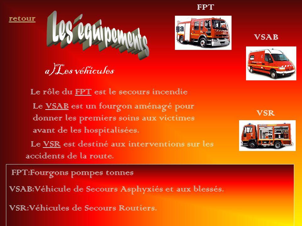 a)Les véhicules retour FPT Le rôle du FPT est le secours incendie VSAB Le VSAB est un fourgon aménagé pour donner les premiers soins aux victimes avan