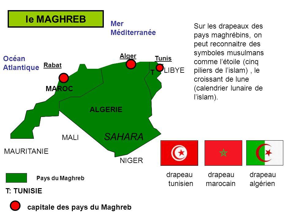Un relief très compartimenté: les plaines littorales la barrière montagneuses des Atlas et des Aurès le vaste plateau désertique du Sahara le MAGHREB