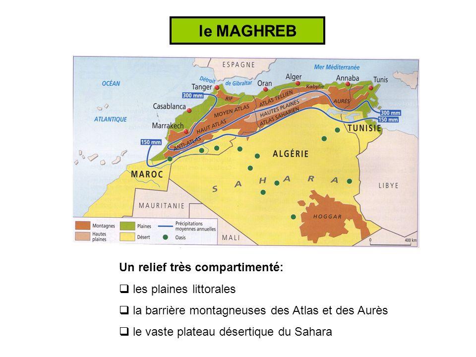 Une répartition de la population et des activités très inégale: des plaines littorales aux fortes densités des montagnes aux densités moyennes un désert très peu peuplé le MAGHREB