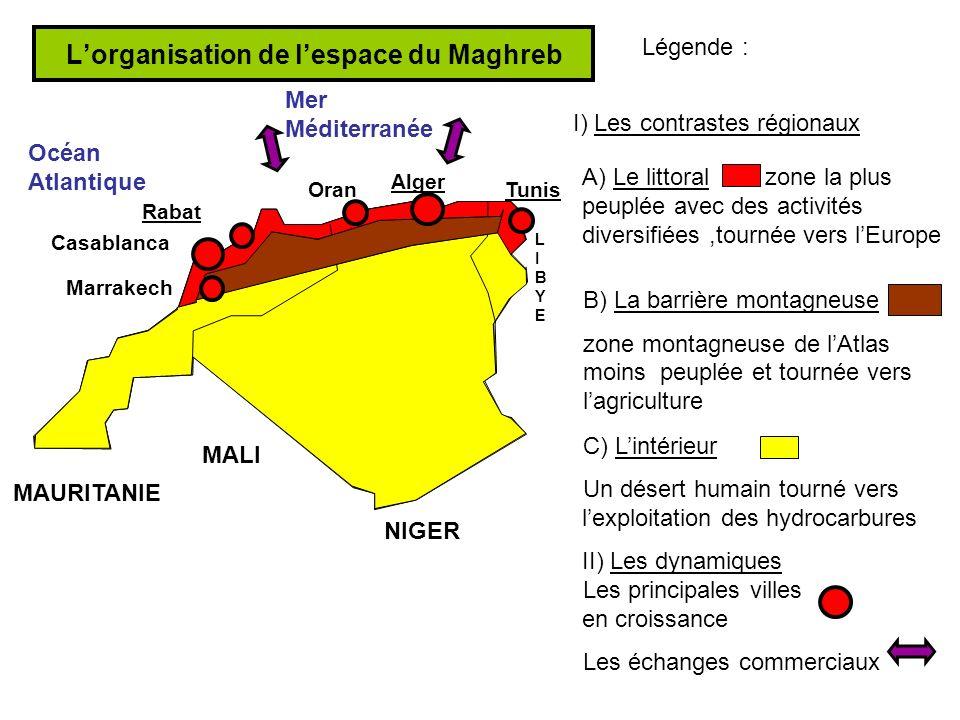 Lorganisation de lespace du Maghreb Légende : A) Le littoralzone la plus peuplée avec des activités diversifiées,tournée vers lEurope C) Lintérieur Un