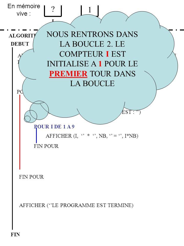 En mémoire vive : ALGORITHME EXERCICE 4 ETAPE 2 DEBUT I FIN NB ? 1 FIN POUR POUR NB DE 1 A 9 FIN POUR AFFICHER (LA TABLE DE, NB, EST : ) POUR I DE 1 A