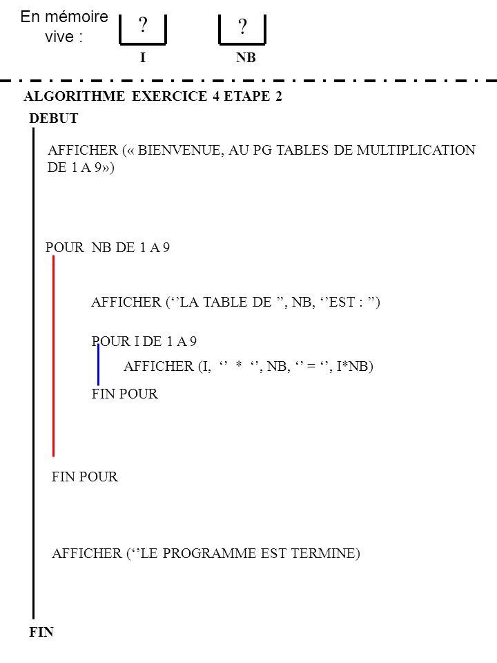 En mémoire vive : ALGORITHME EXERCICE 4 ETAPE 2 DEBUT I FIN NB 1 1 FIN POUR POUR NB DE 1 A 9 FIN POUR AFFICHER (LA TABLE DE, NB, EST : ) POUR I DE 1 A 9 AFFICHER (I, *, NB, =, I*NB) AFFICHER (« BIENVENUE, AU PG TABLES DE MULTIPLICATION DE 1 A 9») AFFICHER (LE PROGRAMME EST TERMINE)