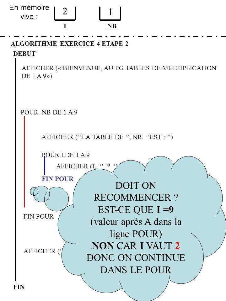En mémoire vive : ALGORITHME EXERCICE 4 ETAPE 2 DEBUT I FIN NB 2 1 FIN POUR POUR NB DE 1 A 9 FIN POUR AFFICHER (LA TABLE DE, NB, EST : ) POUR I DE 1 A