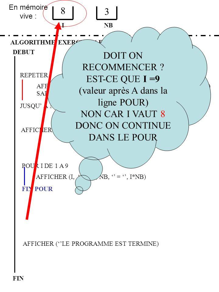 En mémoire vive : ALGORITHME EXERCICE 4 ETAPE 1 DEBUT I FIN NB 8 3 JUSQU À NB > 0 ET NB < 10 REPETER FIN POUR SAISIR (NB) AFFICHER (LA TABLE DE, NB, E