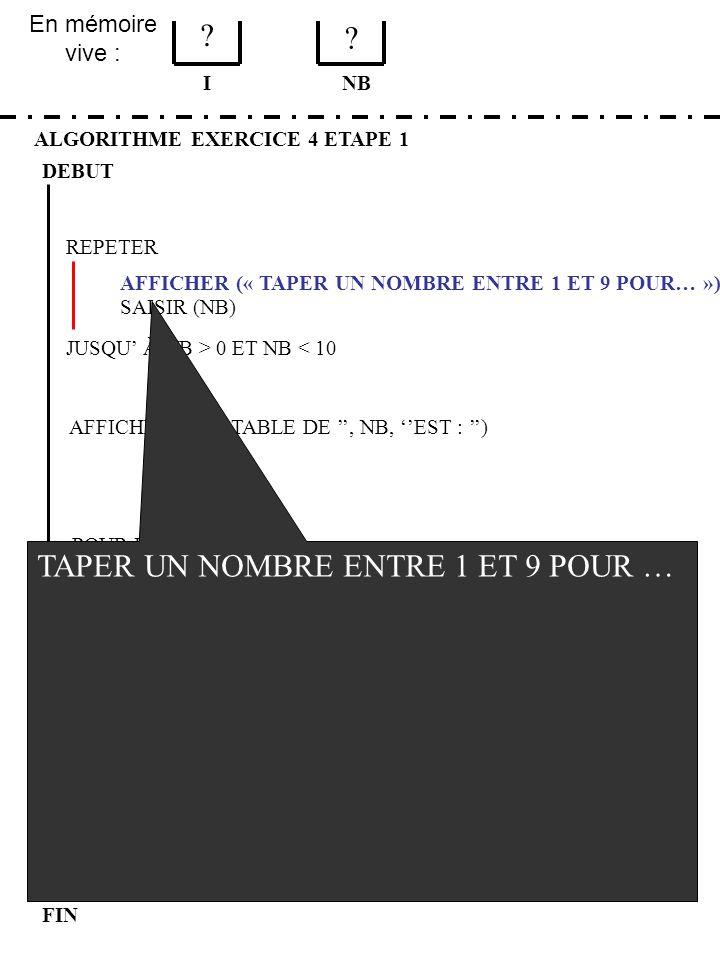 En mémoire vive : ALGORITHME EXERCICE 4 ETAPE 1 DEBUT I FIN NB 4 3 JUSQU À NB > 0 ET NB < 10 REPETER FIN POUR SAISIR (NB) AFFICHER (LA TABLE DE, NB, EST : ) POUR I DE 1 A 9 AFFICHER (I, *, NB, =, I*NB) AFFICHER (« TAPER UN NOMBRE ENTRE 1 ET 9 POUR… ») AFFICHER (LE PROGRAMME EST TERMINE) TAPER UN NOMBRE ENTRE 1 ET 9 POUR … 12 {ENTER} TAPER UN NOMBRE ENTRE 1 ET 9 POUR … 3 {ENTER} LA TABLE DE 3 EST : 1 * 3 = 3 2 * 3 = 6 3 * 3 = 9 4 * 3 = 12