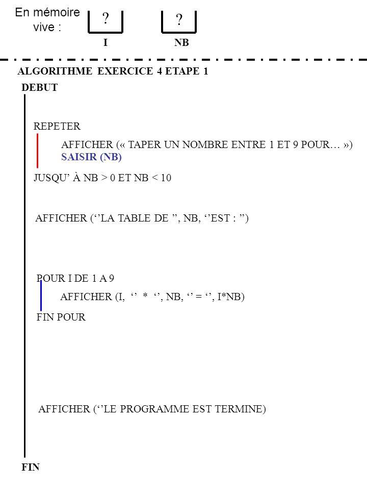 En mémoire vive : ALGORITHME EXERCICE 4 ETAPE 1 DEBUT I FIN NB 1 3 JUSQU À NB > 0 ET NB < 10 REPETER FIN POUR SAISIR (NB) AFFICHER (LA TABLE DE, NB, EST : ) POUR I DE 1 A 9 AFFICHER (I, *, NB, =, I*NB) AFFICHER (« TAPER UN NOMBRE ENTRE 1 ET 9 POUR… ») AFFICHER (LE PROGRAMME EST TERMINE) DOIT ON RECOMMENCER .