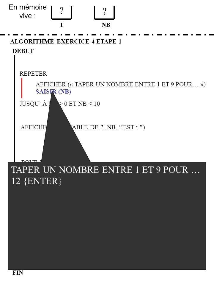 En mémoire vive : ALGORITHME EXERCICE 4 ETAPE 1 DEBUT I FIN NB 1 3 JUSQU À NB > 0 ET NB < 10 REPETER FIN POUR SAISIR (NB) AFFICHER (LA TABLE DE, NB, EST : ) POUR I DE 1 A 9 AFFICHER (I, *, NB, =, I*NB) AFFICHER (« TAPER UN NOMBRE ENTRE 1 ET 9 POUR… ») AFFICHER (LE PROGRAMME EST TERMINE)