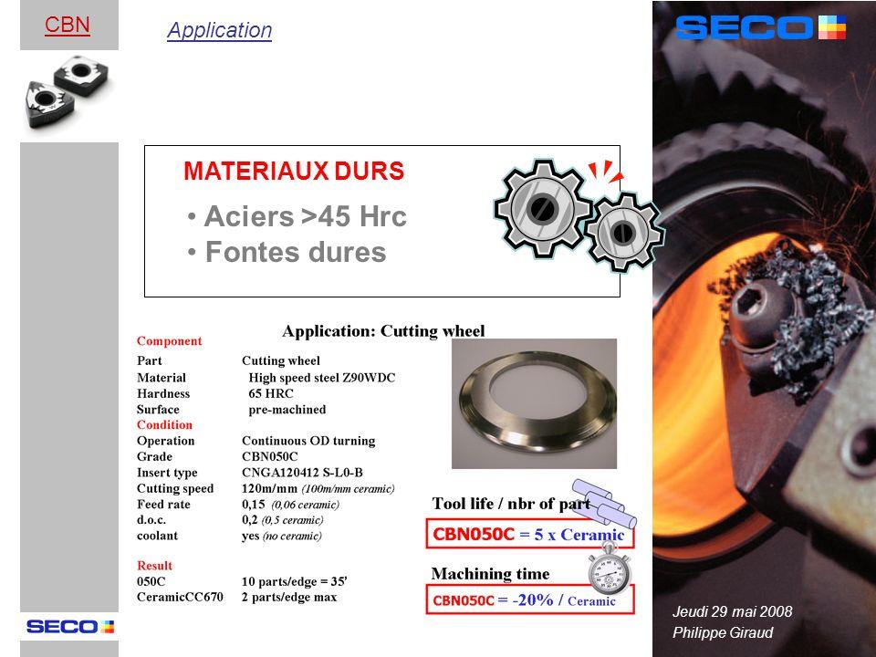 Philippe Giraud CBN Aciers >45 Hrc Fontes dures MATERIAUX DURS Application Jeudi 29 mai 2008