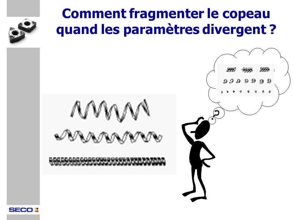Comment fragmenter le copeau quand les paramètres divergent ?