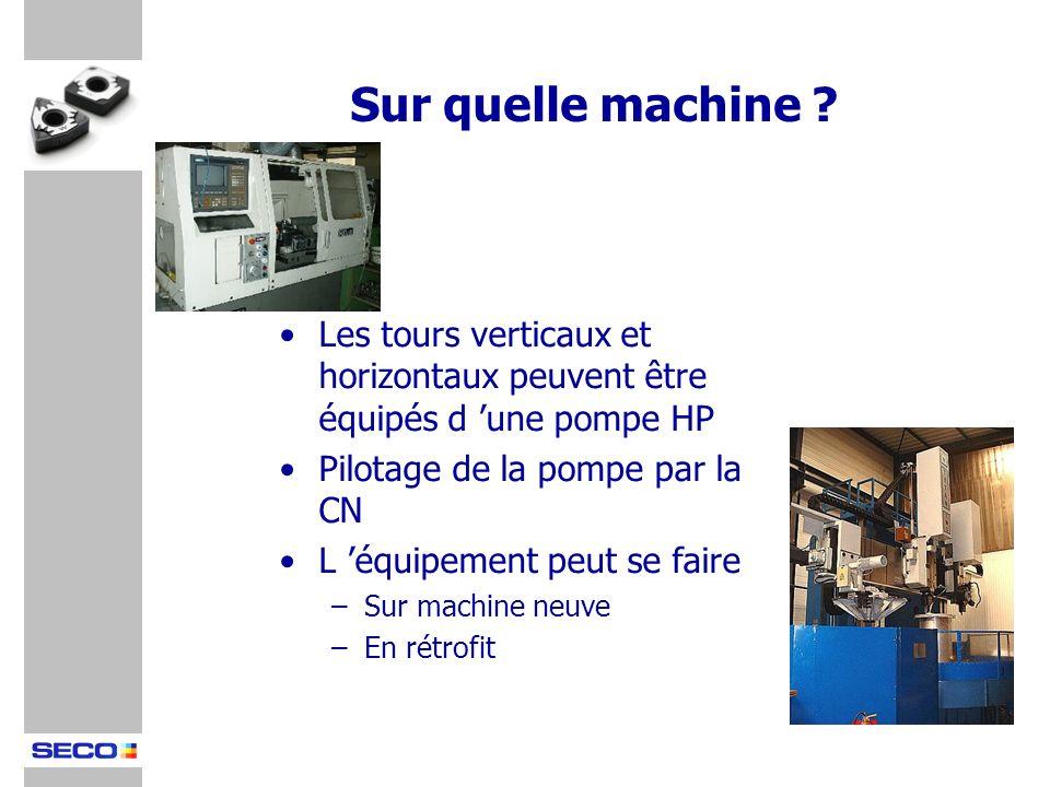 Les tours verticaux et horizontaux peuvent être équipés d une pompe HP Pilotage de la pompe par la CN L équipement peut se faire –Sur machine neuve –E