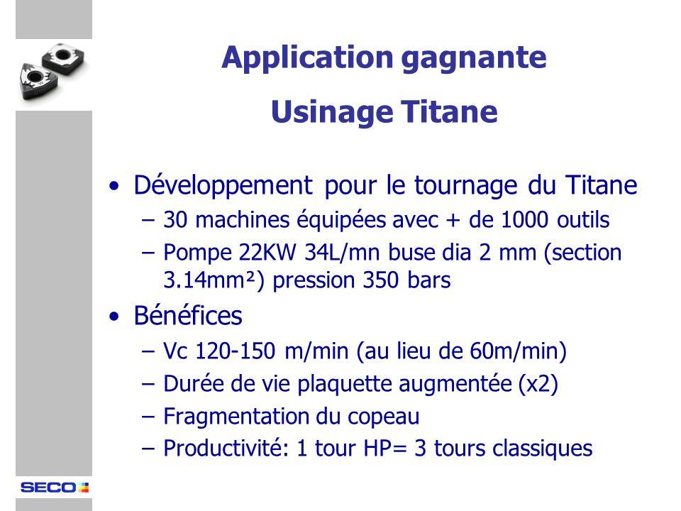 Développement pour le tournage du Titane –30 machines équipées avec + de 1000 outils –Pompe 22KW 34L/mn buse dia 2 mm (section 3.14mm²) pression 350 b