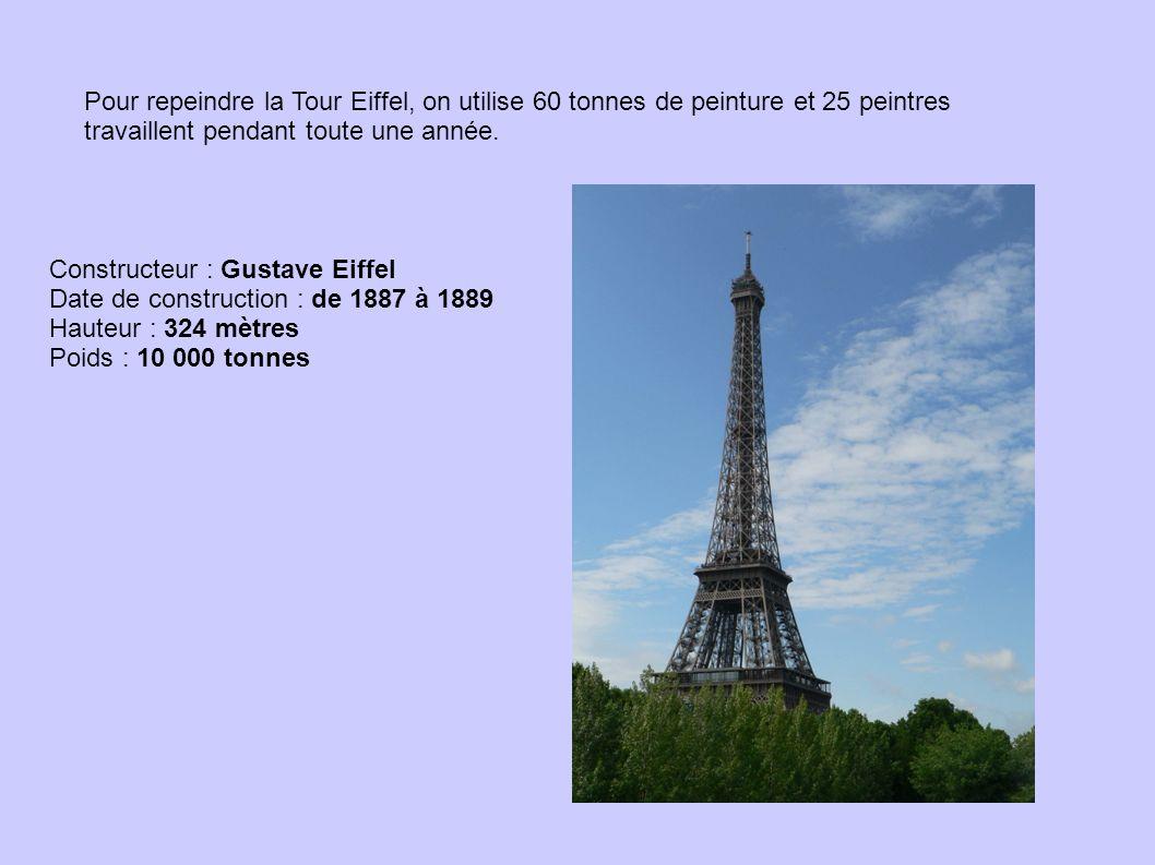 Pour repeindre la Tour Eiffel, on utilise 60 tonnes de peinture et 25 peintres travaillent pendant toute une année. Constructeur : Gustave Eiffel Date