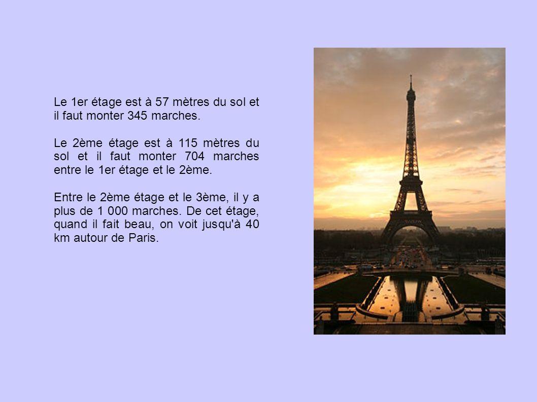 Le 1er étage est à 57 mètres du sol et il faut monter 345 marches. Le 2ème étage est à 115 mètres du sol et il faut monter 704 marches entre le 1er ét
