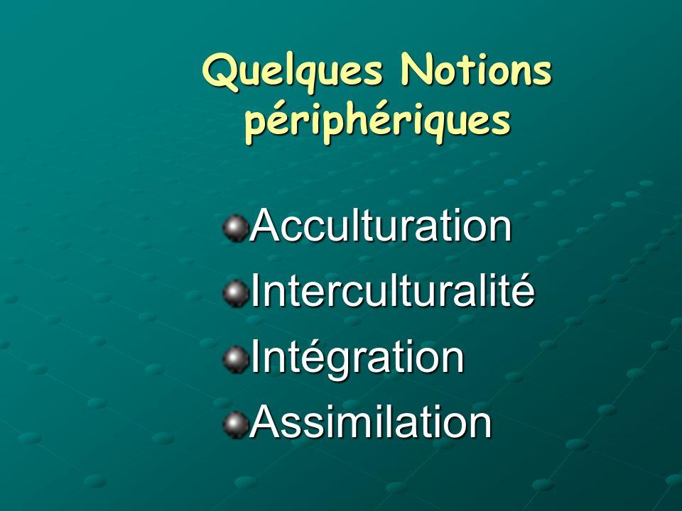 Quelques Notions périphériques AcculturationInterculturalitéIntégrationAssimilation