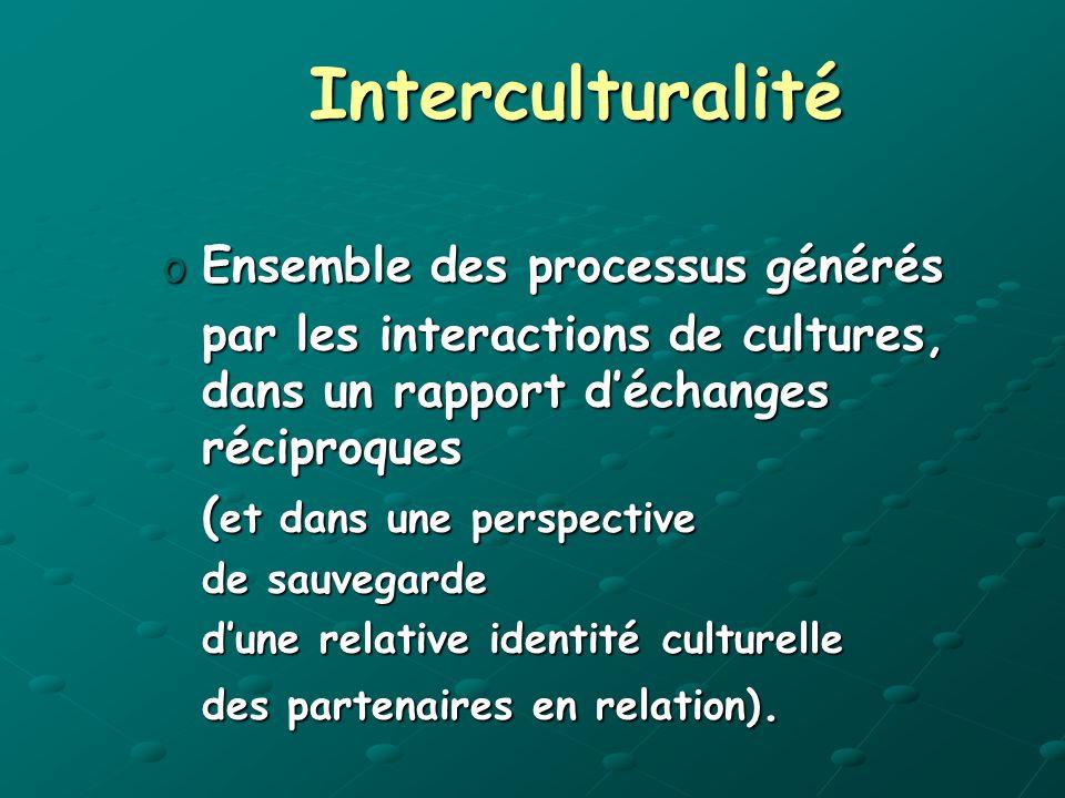 Interculturalité oEnsemble des processus générés par les interactions de cultures, dans un rapport déchanges réciproques ( et dans une perspective de sauvegarde dune relative identité culturelle des partenaires en relation).