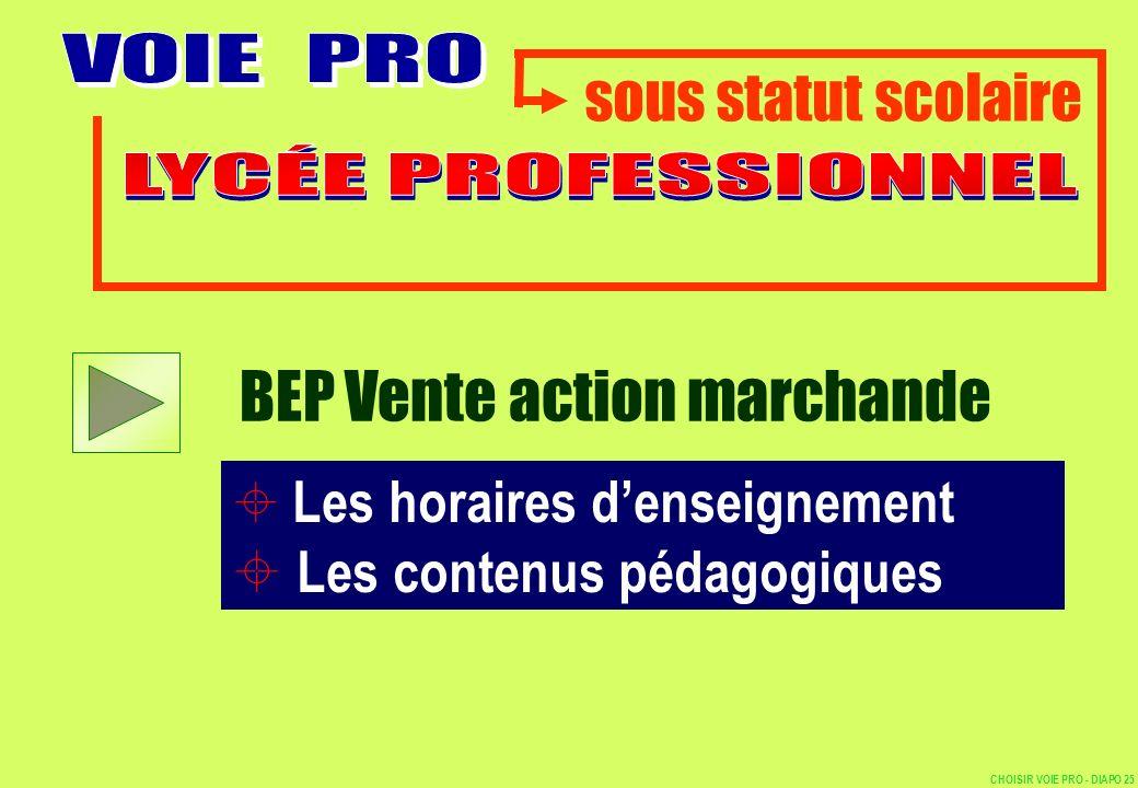 sous statut scolaire Les horaires denseignement Les contenus pédagogiques BEP Vente action marchande CHOISIR VOIE PRO - DIAPO 25