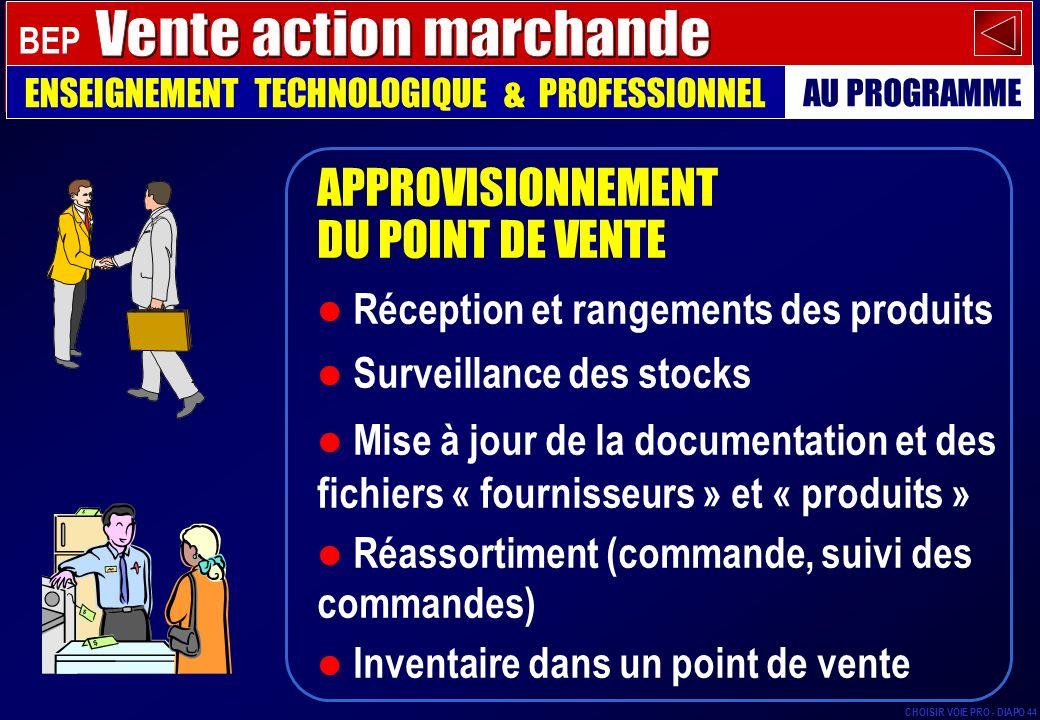 APPROVISIONNEMENT DU POINT DE VENTE Réception et rangements des produits Surveillance des stocks Mise à jour de la documentation et des fichiers « fou