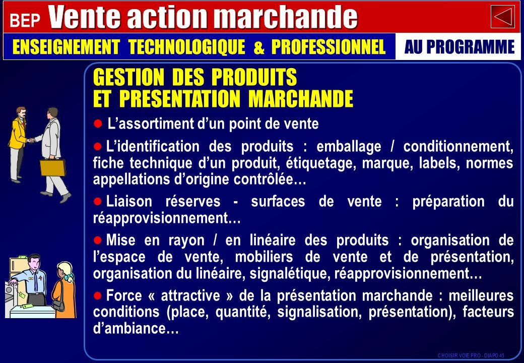 GESTION DES PRODUITS ET PRESENTATION MARCHANDE Lassortiment dun point de vente Lidentification des produits : emballage / conditionnement, fiche techn