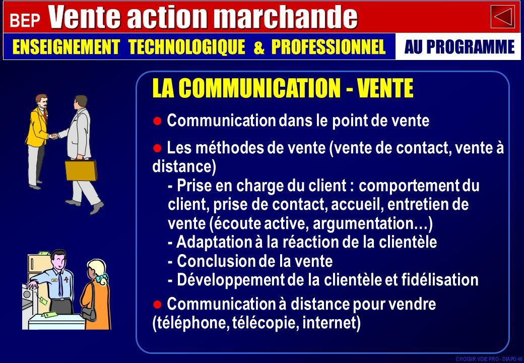 LA COMMUNICATION - VENTE Communication dans le point de vente Les méthodes de vente (vente de contact, vente à distance) - Prise en charge du client :