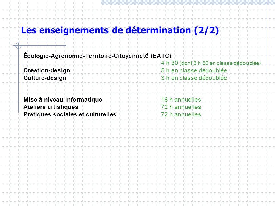 Les enseignements de détermination (2/2 fin) Langue vivante 2 2 h 30 (dont 30 min en classe d é doubl é e) Langue vivante 3 2 h 30 (dont 30 min en cla