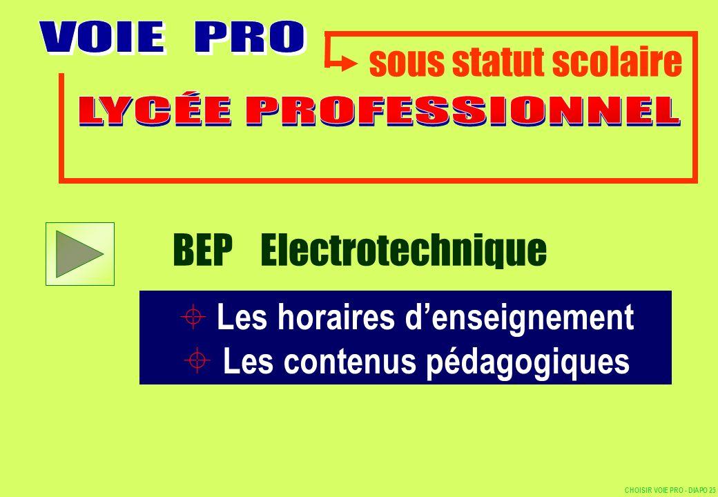 sous statut scolaire Les horaires denseignement Les contenus pédagogiques BEP Electrotechnique CHOISIR VOIE PRO - DIAPO 25