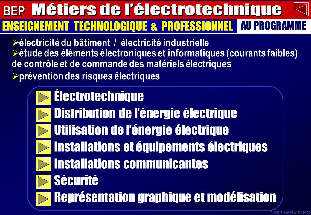 lois fondamentales de lélectricité, courant continu, courant alternatif, mesures électriques… Électrotechnique ENSEIGNEMENT TECHNOLOGIQUE & PROFESSIONNEL AU PROGRAMME BEP CHOISIR VOIE PRO - DIAPO 28