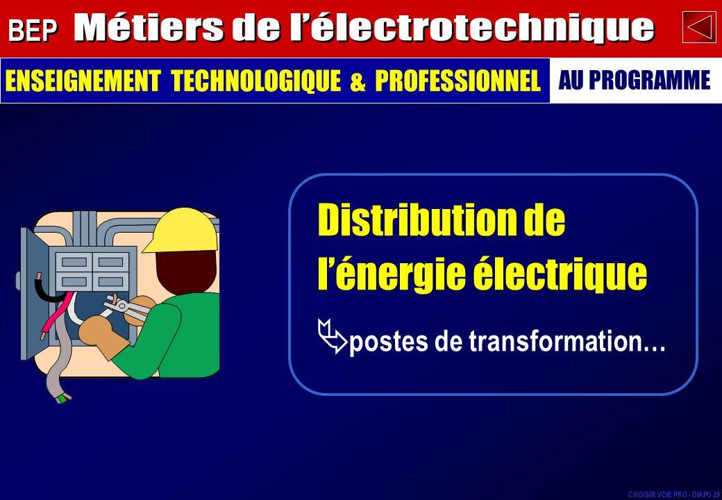 éclairage, électrothermie (chauffage…), moteurs… Utilisation de lénergie électrique ENSEIGNEMENT TECHNOLOGIQUE & PROFESSIONNEL AU PROGRAMME BEP CHOISIR VOIE PRO - DIAPO 30