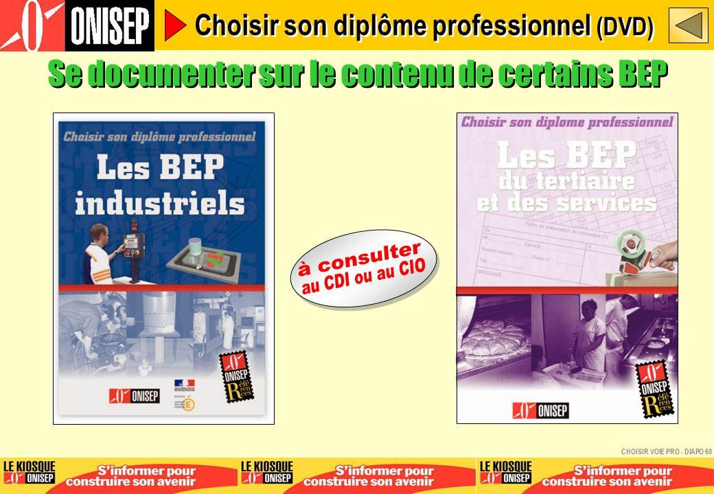 Se documenter sur le contenu de certains BEP Choisir son diplôme professionnel (DVD) CHOISIR VOIE PRO - DIAPO 60