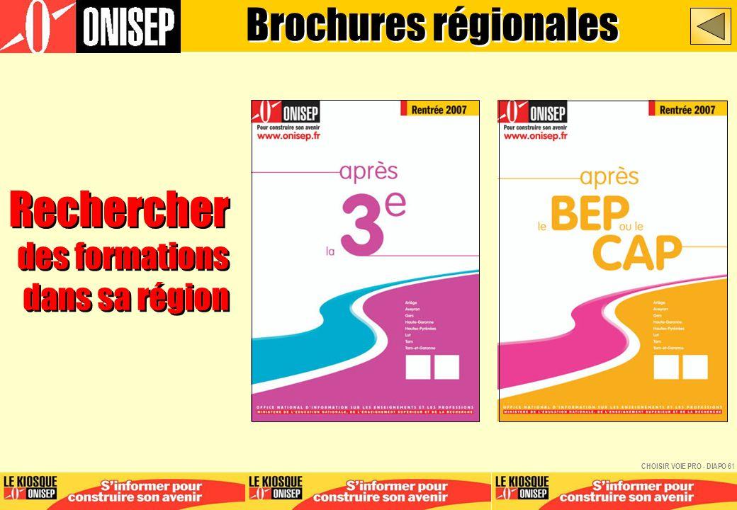Rechercher des formations dans sa région Rechercher des formations dans sa région Brochures régionales CHOISIR VOIE PRO - DIAPO 61